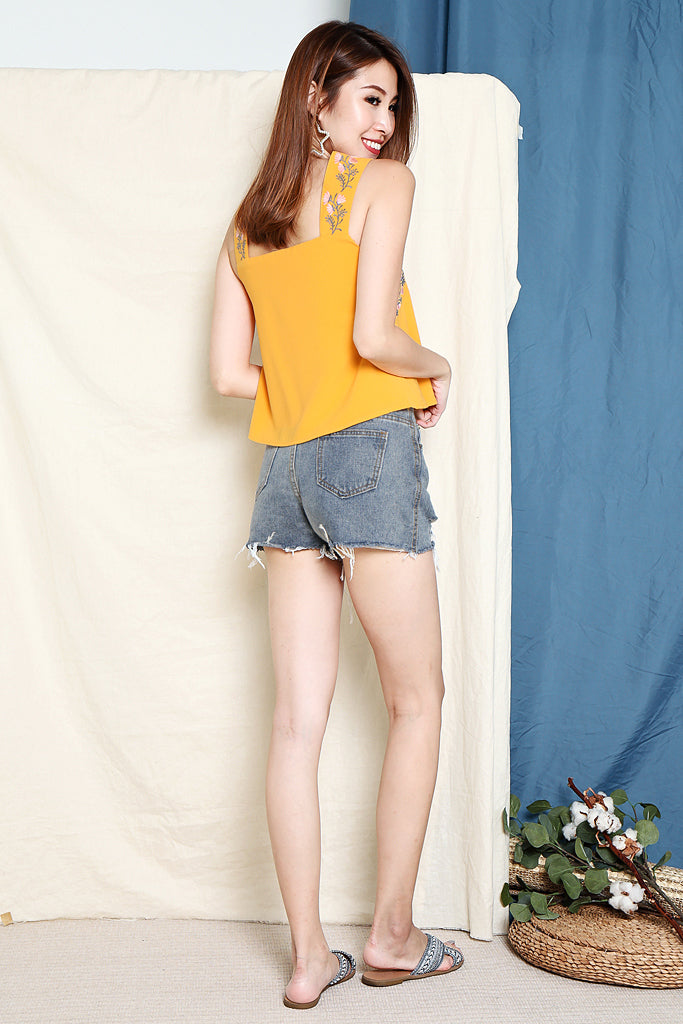 Lia Floral Embroidered Top - Marigold [S/M/L]