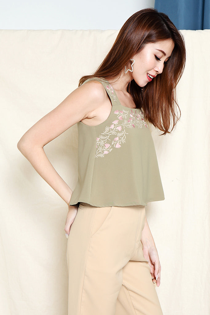Lia Floral Embroidered Top - Sage Green [S/M/L]