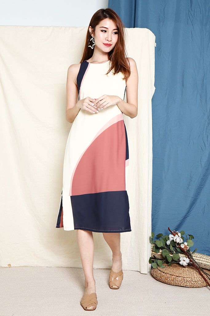 Josie Abstract Colourblock Midi Dress - Tea Rose [S/M/L/XL]