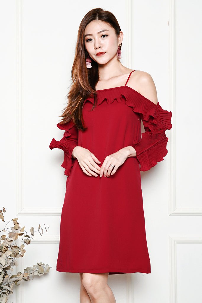 Lana Pleated Ruffles Sleeved Dress - Red ( XS / S / M / L )