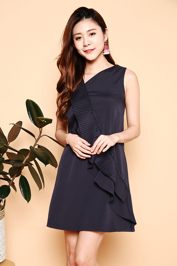 Maddie Ruffles In Pleats Dress - Navy ( XS / S / M / L )