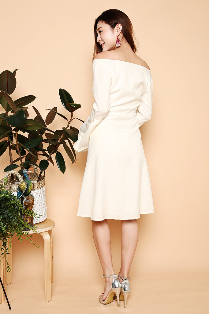 Victoria Bell Sleeve Off Shoulder Dress - White ( XS / S / M / L )