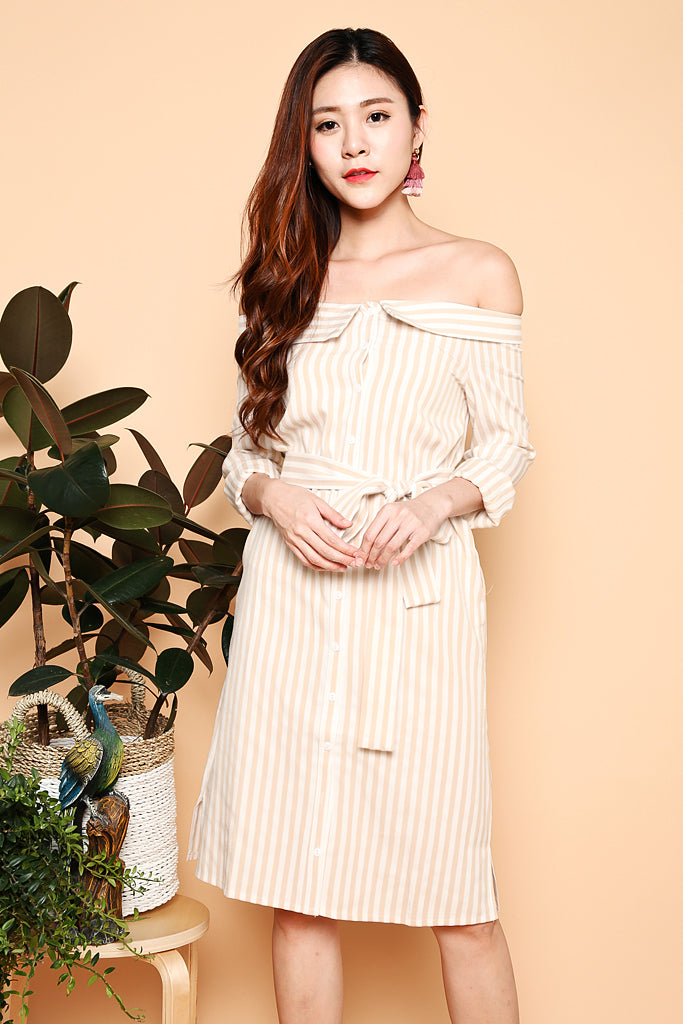 Tara Off Shoulder Stripes Dress - Beige ( XS / S / M / L )