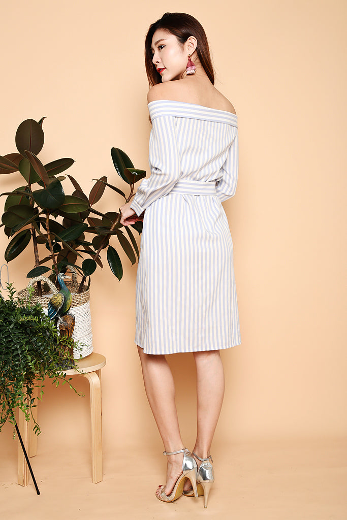 Tara Off Shoulder Stripes Dress - Baby Blue ( XS / S / M / L )