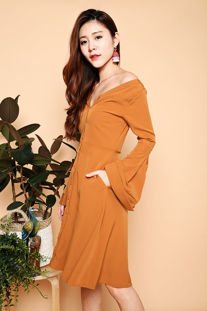 Victoria Bell Sleeve Off Shoulder Dress - Rust ( XS / S / M / L )