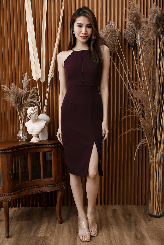 Char Scallop Trim Dress - Deep Wine [XS/S/M/L/XL]