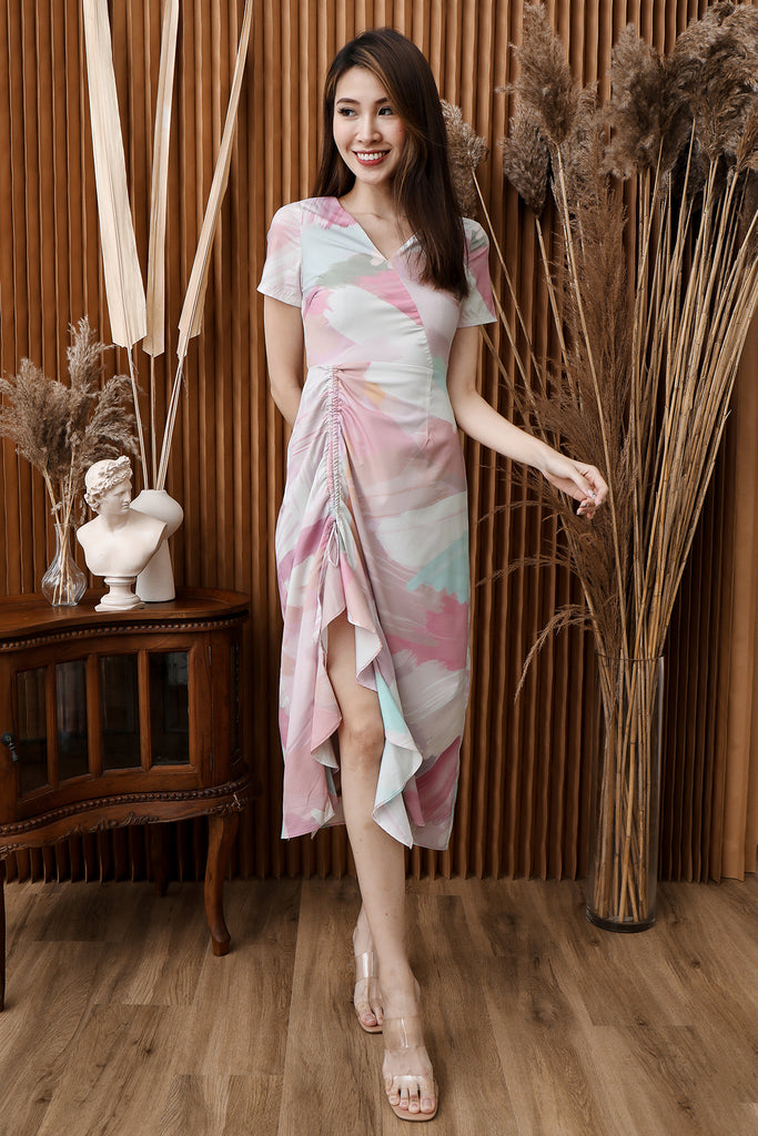 Viola Brushed Printed Ruched Dress - [XS/S/M/L/XL]