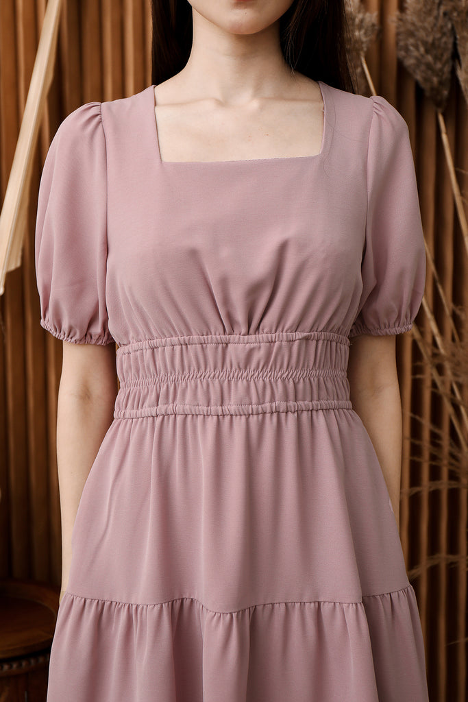 ETA 27 Jan: Katryn Waist-Gathered Tier Dress (Free Matching Fabric Mask) - Dusty Pink [XS/S/M/L/XL]