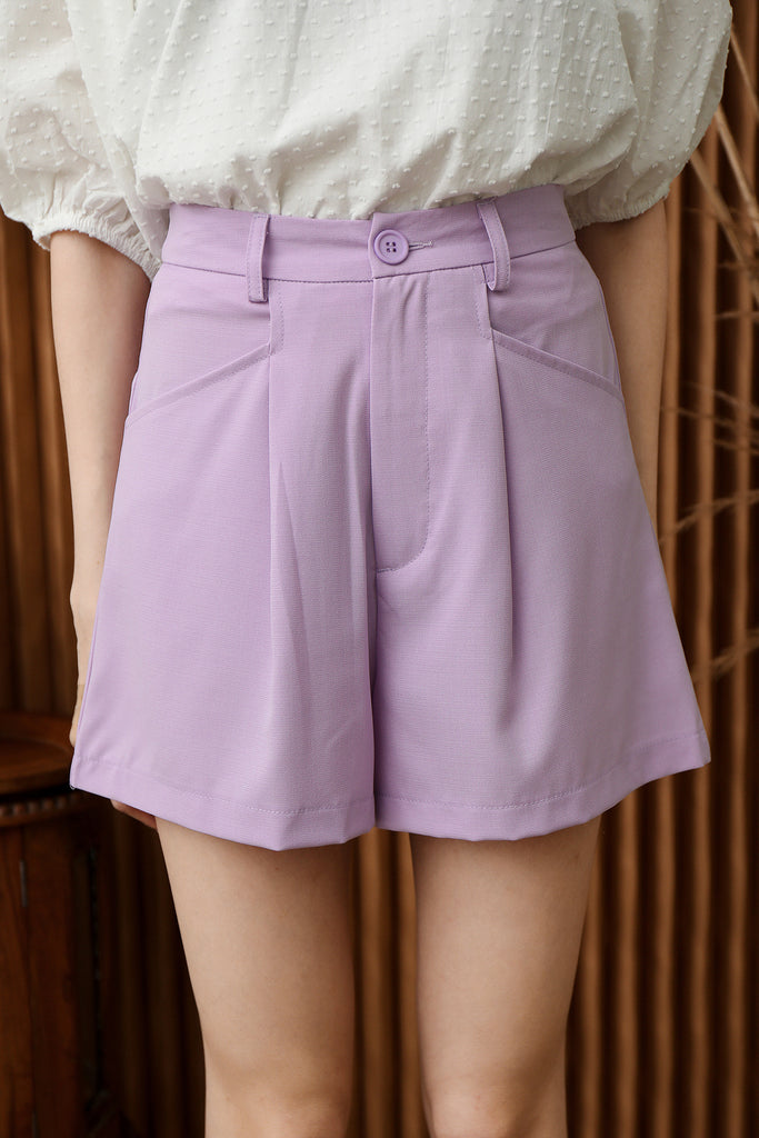 Brenda Button Flare Shorts - Lilac [XS/S/M/L/XL]