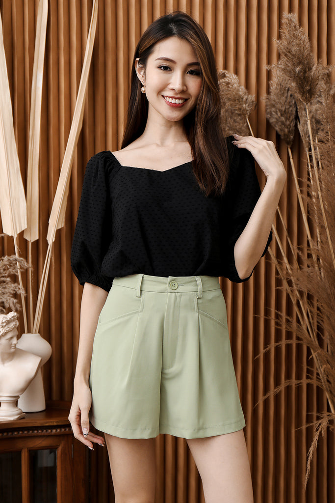 Arianna Swiss Dot Puffy Sleeves Top - Black [XS/S/M/L/XL]