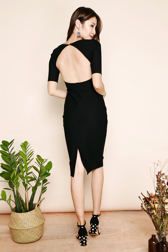 Blake Bare Back Sleeved Midi - Black [S/M/L]