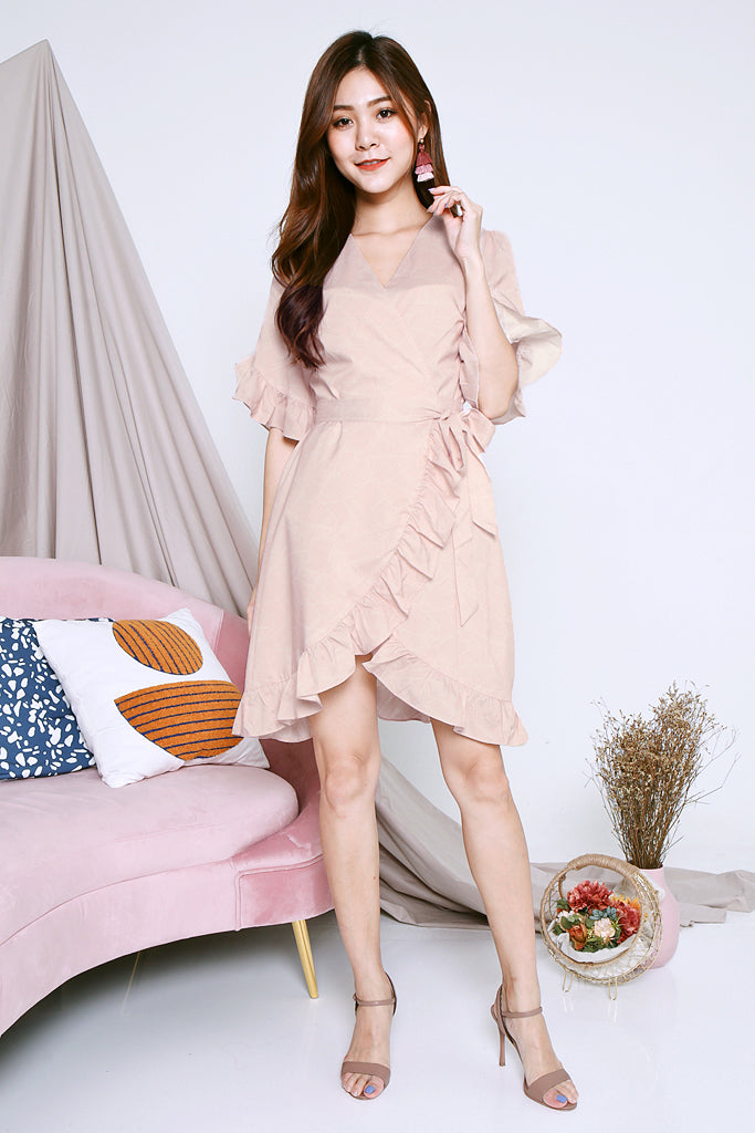 Oakley Printed Wrap Dress - Nude Pink [XS/S/M/L]