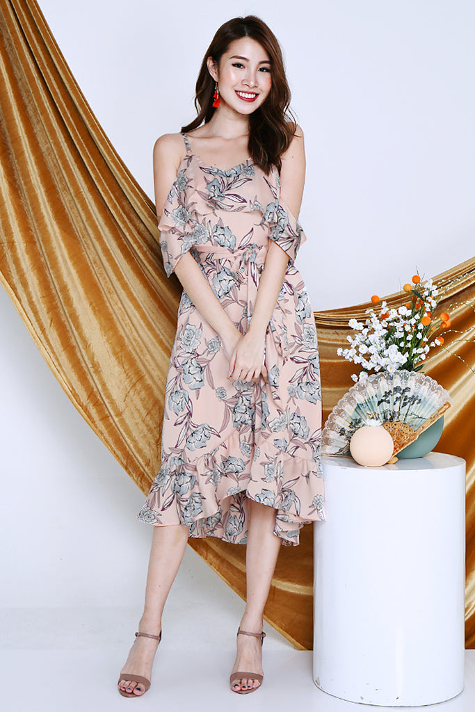 Hailey Flowy Floral Midi Dress - Pink [XS/S/M/L/XL]