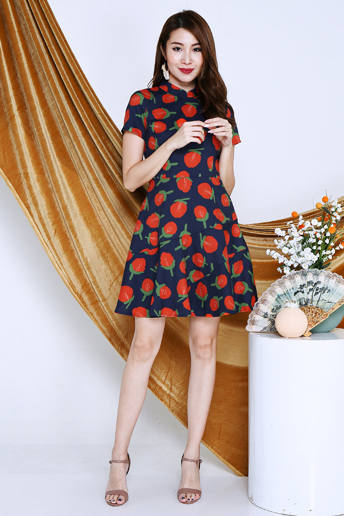 Frooter Abstract Printed Detachable Collar Dress - Navy [XS/S/M/L/XL]