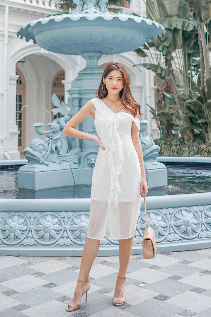 Yara Swissdot Ruffle Down Dress - White [XS/S/M/L/XL]