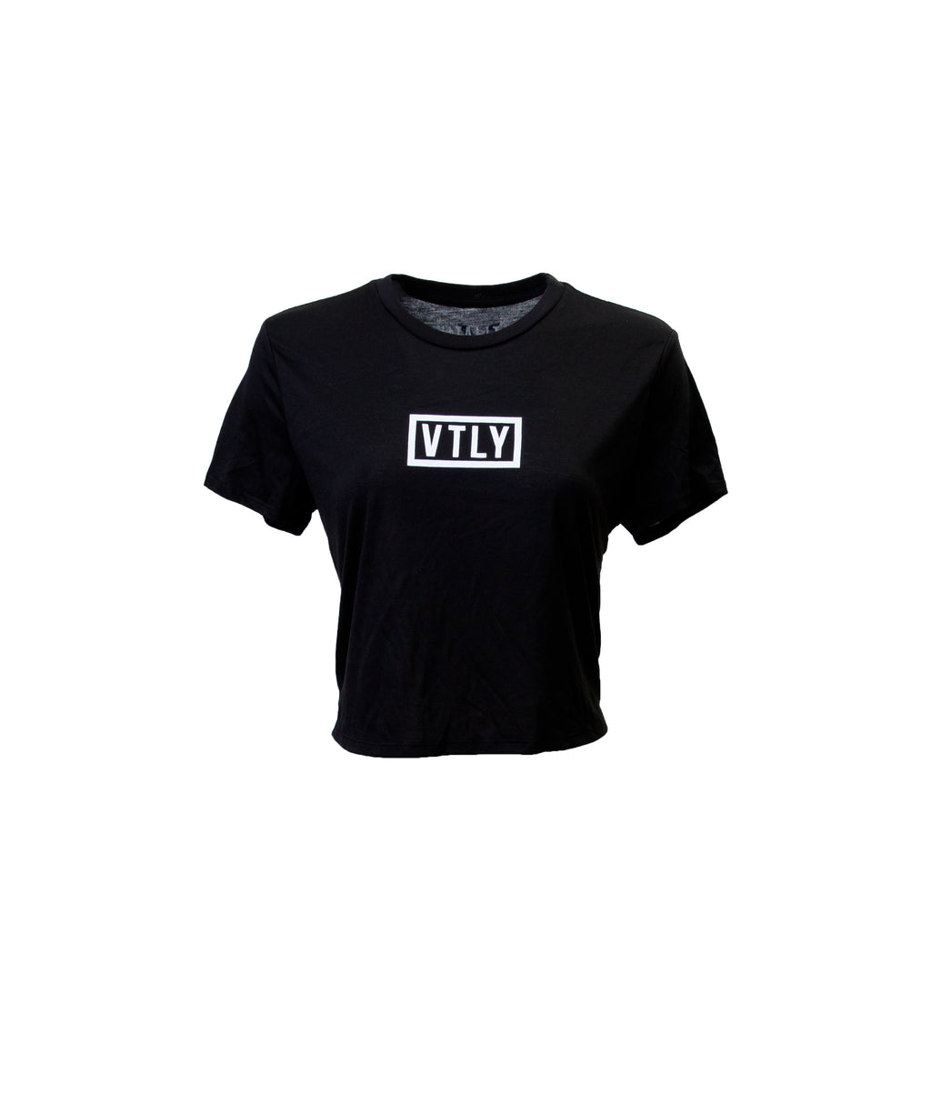 VTLY Womens Crop Tee Black