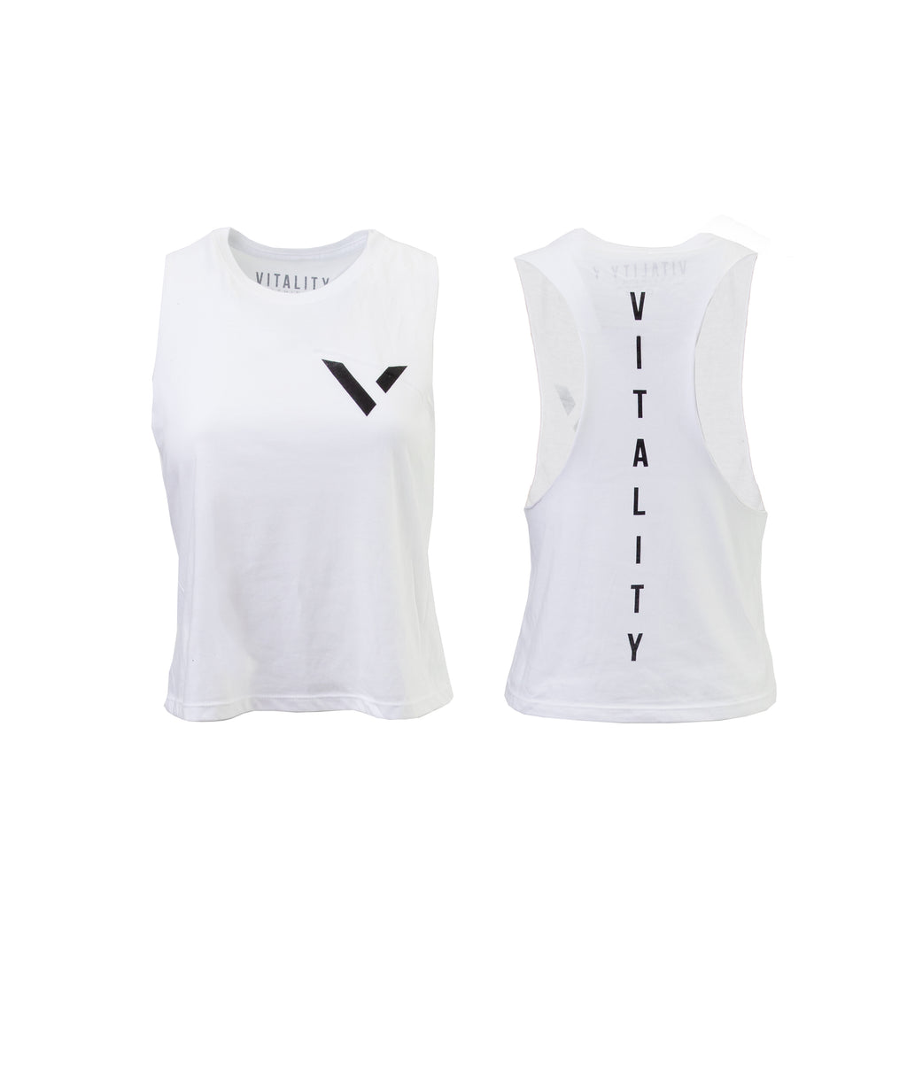 Womens Crop Tank Logo White