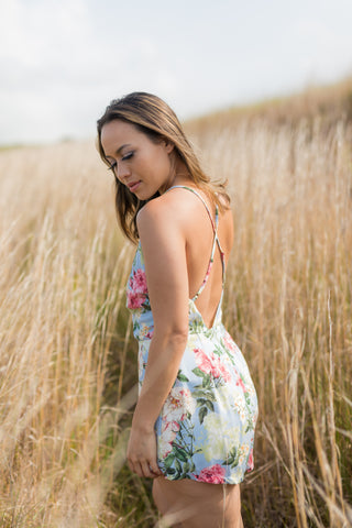 Floral Romper with Deep X Back