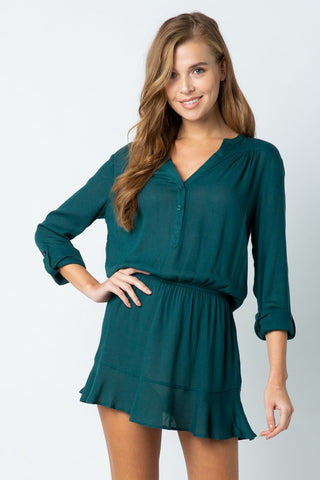 Button Down Crepe Mini Dress