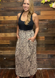 Animal Smocked Maxi Skirt