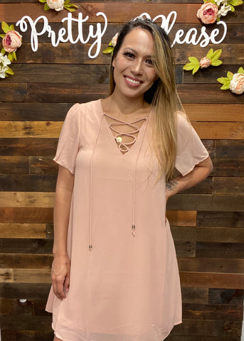 Lace Up Short Sleeve Shift Dress