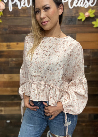 Floral High-Low Ruffled Blouse