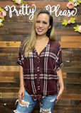 Plaid Button Down Short Sleeve Top