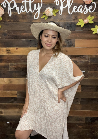 Animal Print Cold Shoulder Tunic