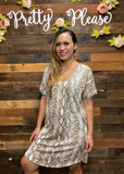 Snake Print Dolman Dress