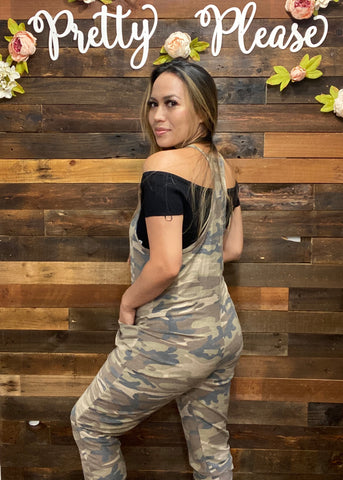 Racer Back Jogger Jumpsuits (Black & Camo)