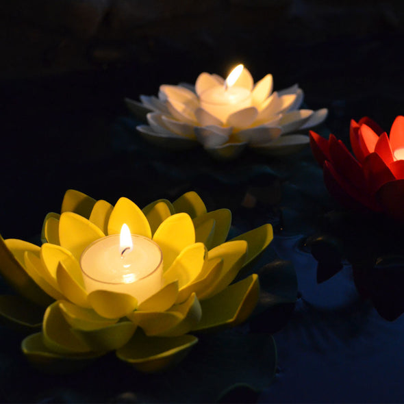 illuminated floating candle lotus