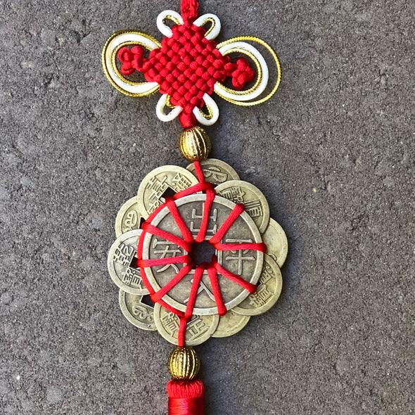 12 coins Chinese red and gold knot hanging decoration