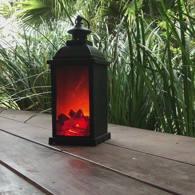 Large Battery Operated Fireplace Lantern