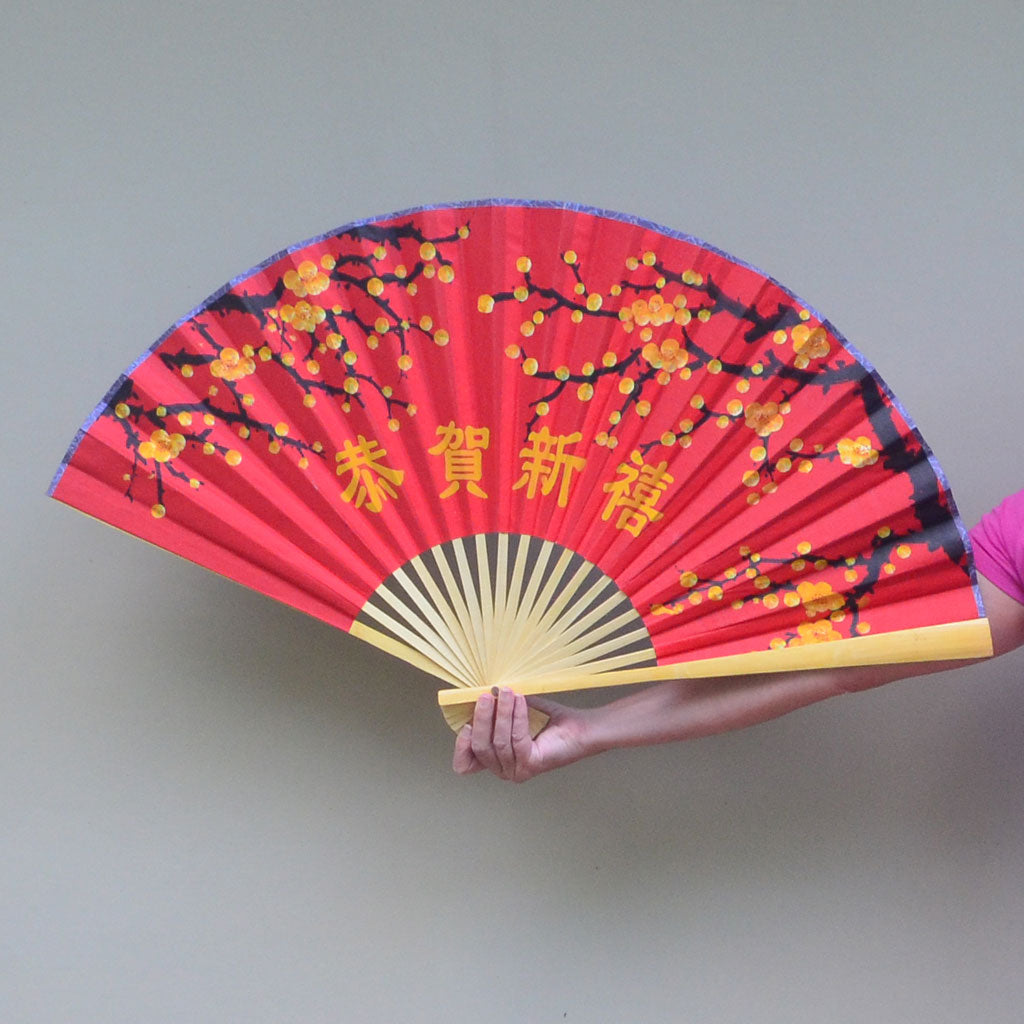 giant fan chinese new year cherry blossoms 50cm x 90cm