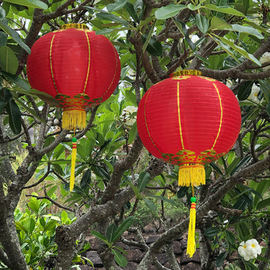 Large Chinese Lanterns (40cm) - pack 2 red nylon lanterns