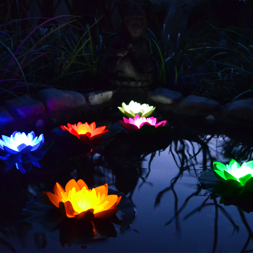 illuminated large led deluxe floating lotus