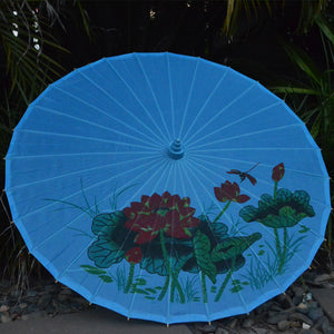 Blue lotus and dragonfly nylon parasol