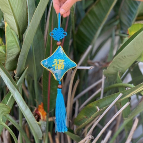 blue Chinese silk hanging good luck talisman