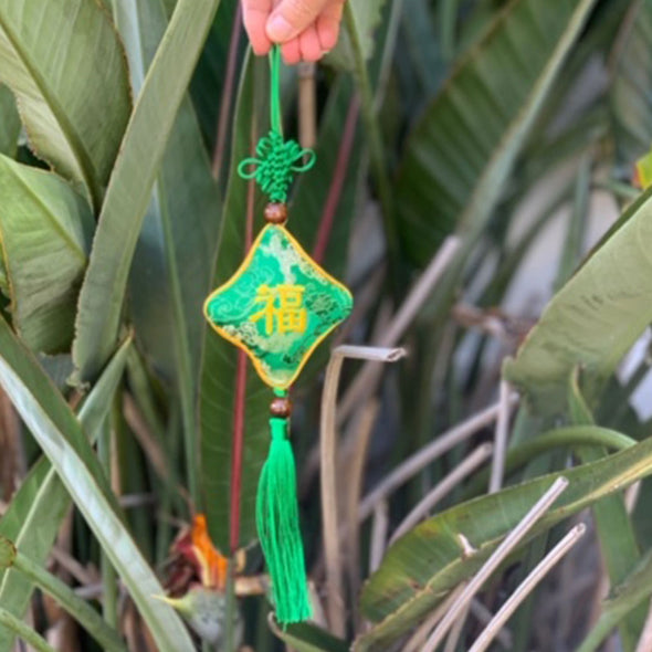 emerald Chinese silk hanging good luck talisman