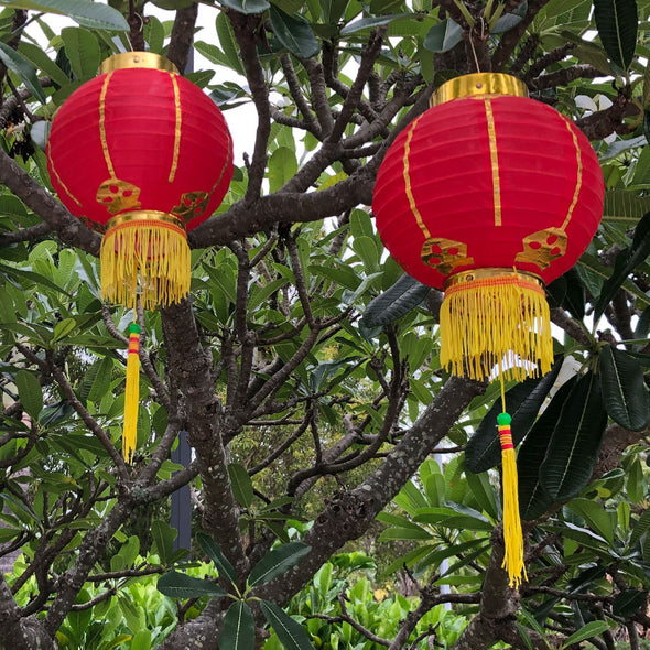 Small Chinese Lanterns Red - pack 2 nylon lanterns