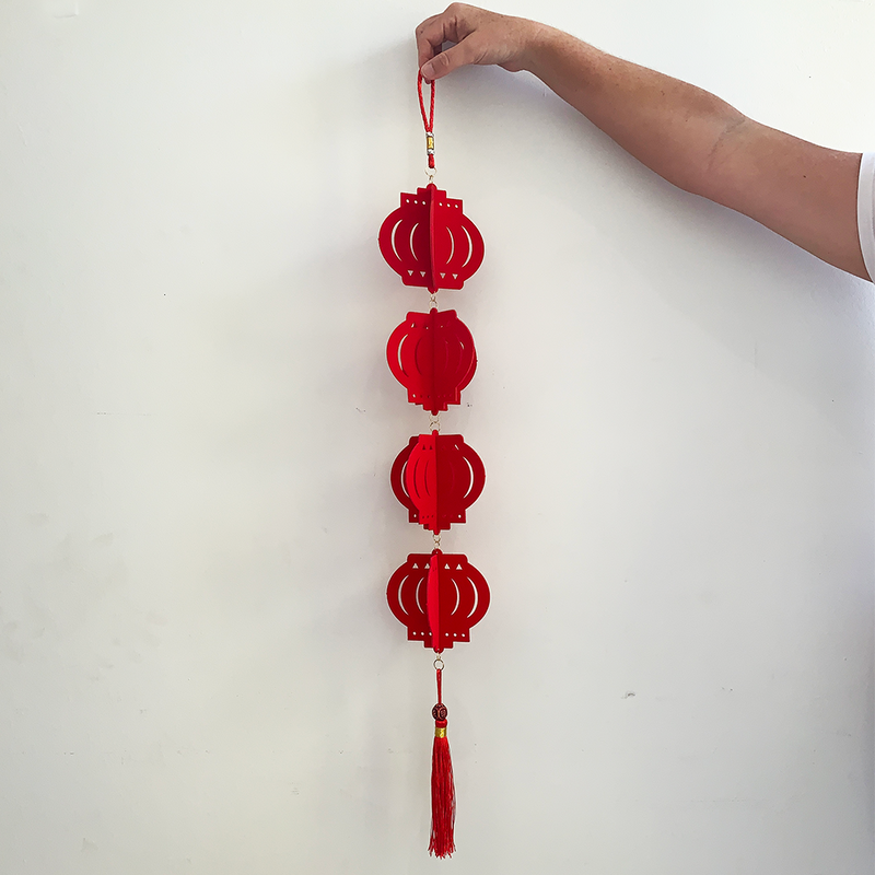 DIY - Red Velvet Chinese Lanterns Hanging Decoration (85cm)