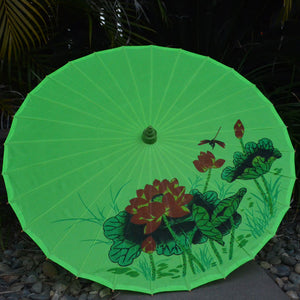 lime green lotus and dragonfly nylon parasol