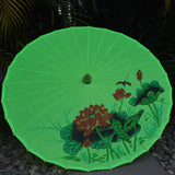 Lime Green Lotus & Dragonfly Printed Parasol