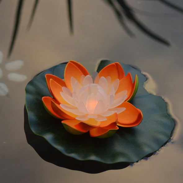 large orange deluxe led floating lotus