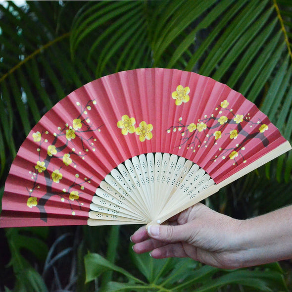 Red & Gold Cherry Blossom paper fan