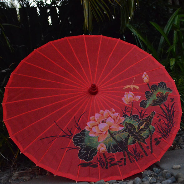 red lotus and dragonfly nylon parasol