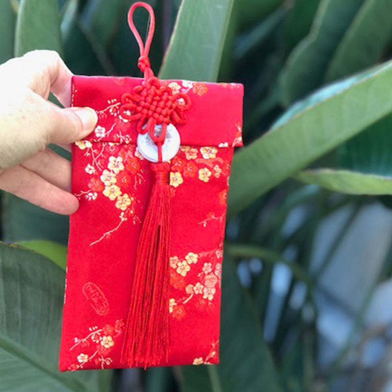 Luxury Red Money Packet - Silk Cherry blossoms
