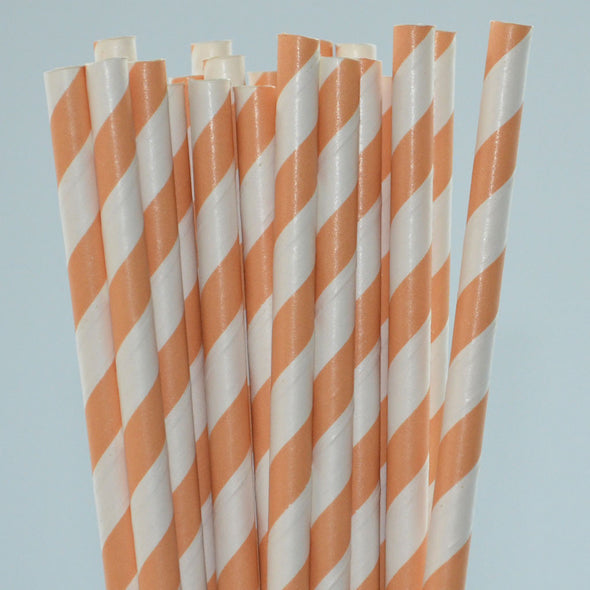 Mango Stripe Paper Straws Pack of 25