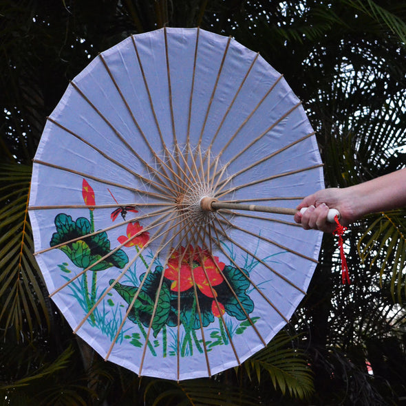 white lotus and dragonfly nylon parasol