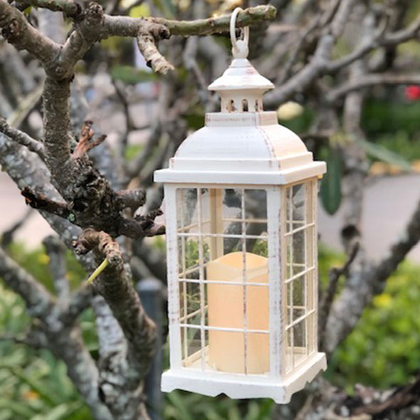 Large Antique White Lantern with LED candle (13 x 35cm)